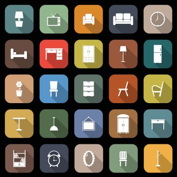 Furniture flat icons with long shadow
