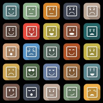 Square face flat icons with long shadow, stock vector
