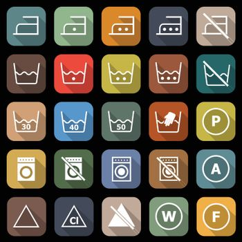 Laundry flat icons with long shadow, stock vector