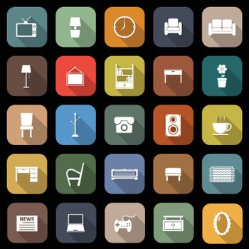 Living room flat icons with long shadow, stock vector