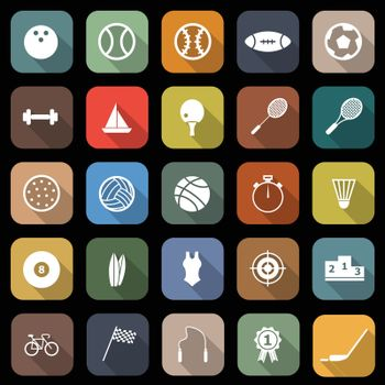 Sport flat icons with long shadow, stock vector