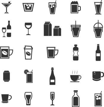 Drink icons on white background, stock vector