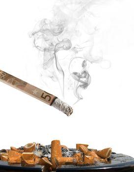 50 euro cigarette with ashtray and smoke on white background