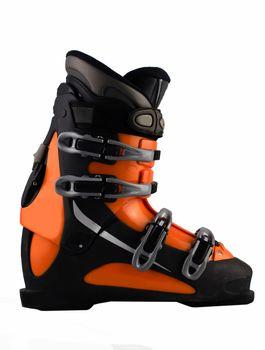 orange ski shoe isolated on white
