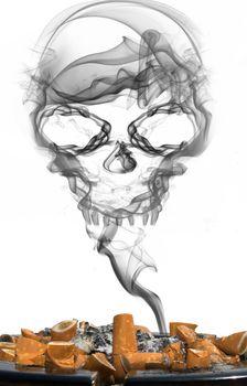 ashtray with cigarettes and smoke skull