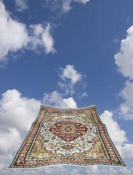 magic carpet in a blue sky