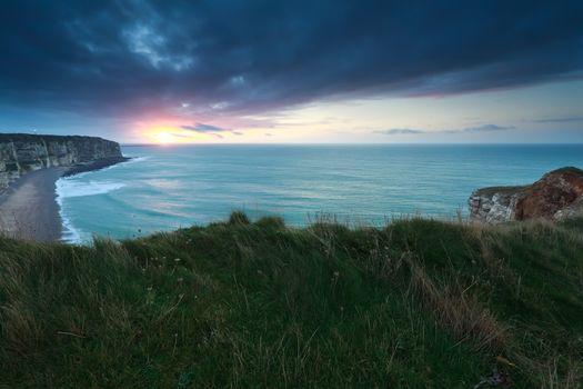 sunset over Atlantic ocean in France