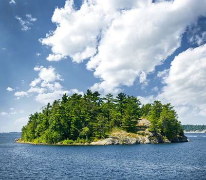 Small rocky island in Georgian Bay near Parry Sound, Ontario, Canada.