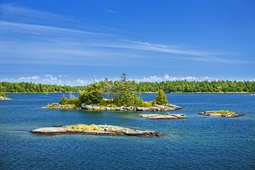 Small rocky islands in Georgian Bay near Parry Sound, Ontario Canada