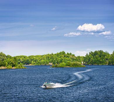 Woman boating on lake