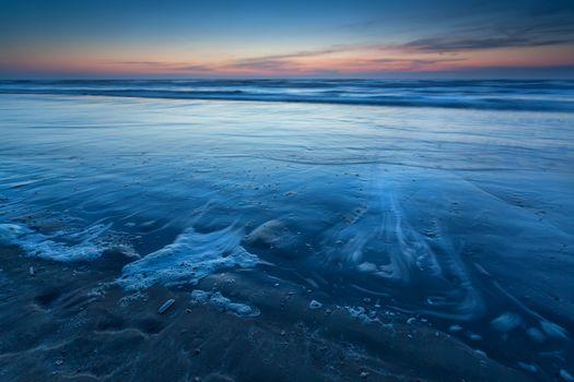 beach on North sea in dusk