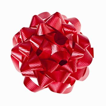 Red Christmas gift bow of ribbon isolated on white background