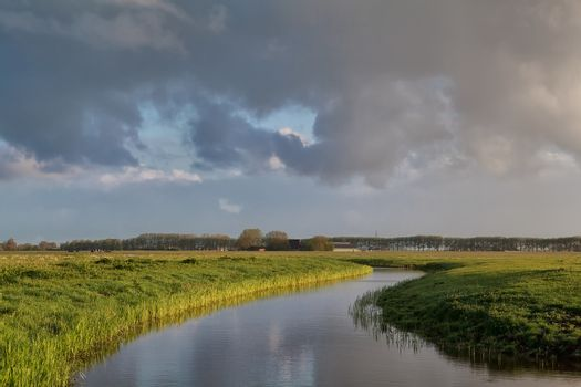 cloud sky over river in Dutch farmland
