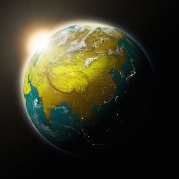 Sun over Southeast Asia on planet Earth