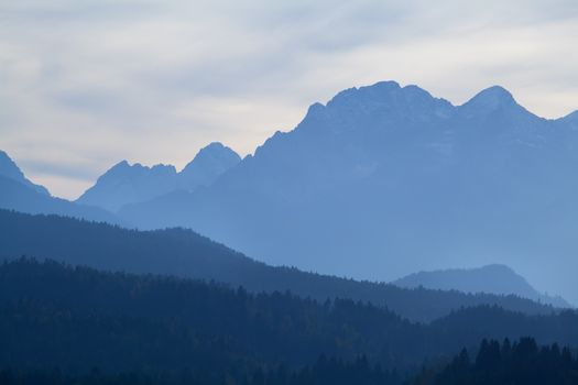 high mountains in dusk