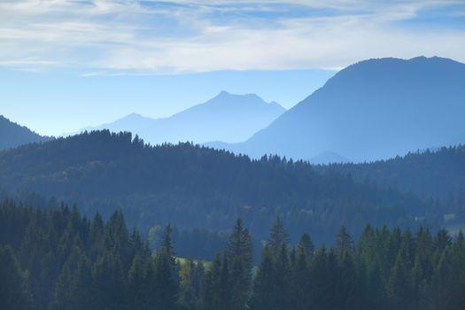 Karwendel mountain range in misty fog