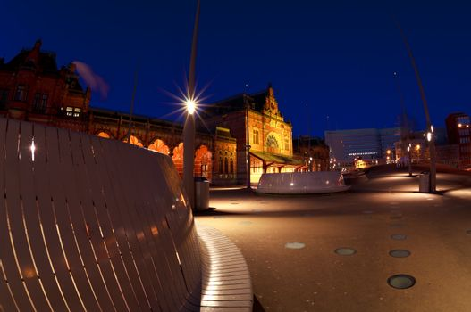 Central Station in Groningen by night