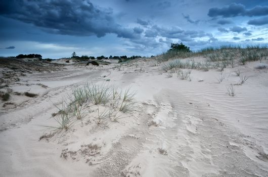 clouds over sand dunes in Netherlands