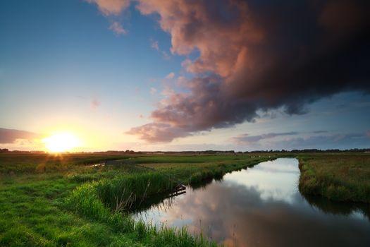 sunset over river on Dutch farmland