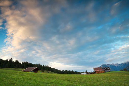 alpine meadows before sunset