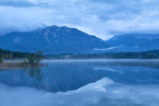 Basmsee lake and Alps in dusk