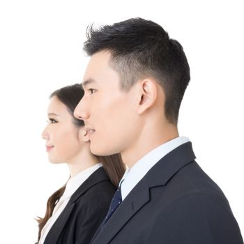 Side view of young business man and woman