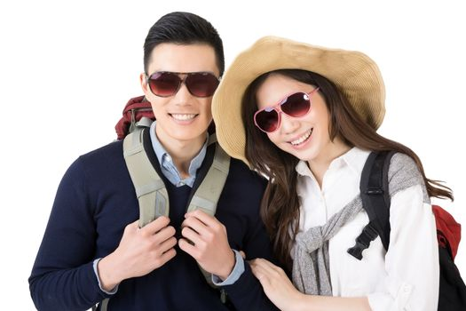 Happy traveling Asian couple