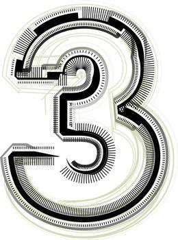 technological font. Number 3