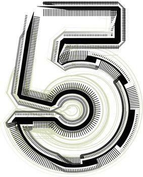 technological font. Number 5