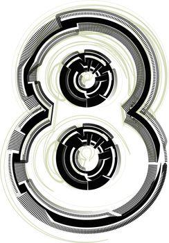 technological font. Number 8