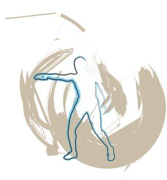 Athlete throwing the discus