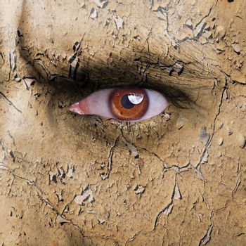 Nature concept - man face covered with cracked earth texture - symbol of dry skin