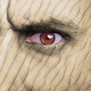 Sand texture on human face
