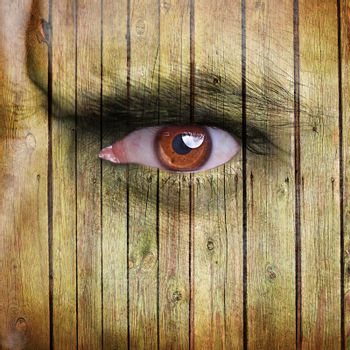Angry man face covered with wooden texture