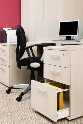 workstation with a computer in a modern office