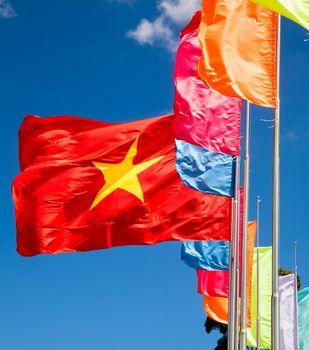 Waving flag of Vietnam