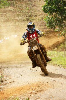 BAO LOC, VIET NAM- DECEMBER 23: Racer in activity at motorcycle race hole on Bao Loc, Viet Nam in December 23, 2012