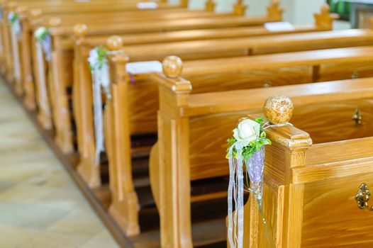 Wooden church bench with decoration