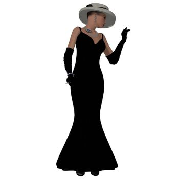 A woman dressed in a black fashion dress and hat from the 1960s.