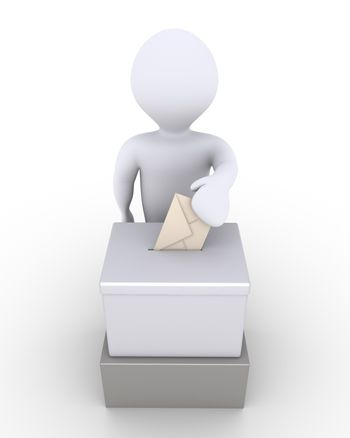 Person before a ballot box is voting