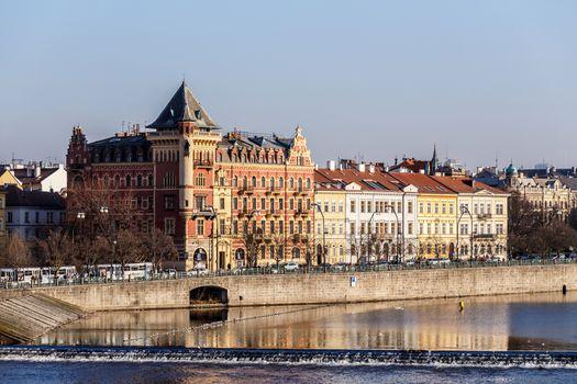 View to the Prague Old Town (Smetanovo Nabrezi)