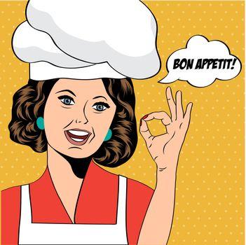 pop art woman cook