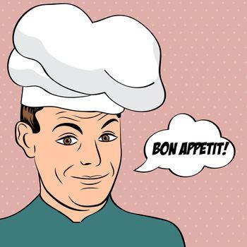 pop art man in cooker uniform