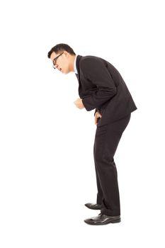 businessman maybe have  Excretory system disease