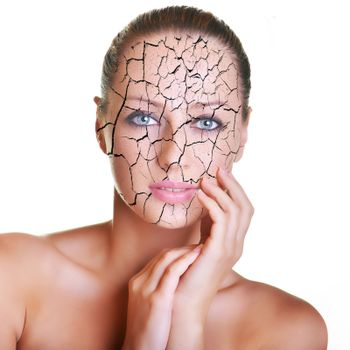 Portrait of beautiful young caucasian brunette with cracked skin