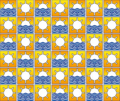 Summer sun and waves pattern