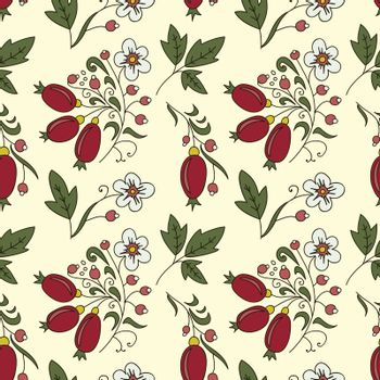 seamless texture barberry with white flowers on a beige background. Use as a pattern fill, backdrop, seamless texture