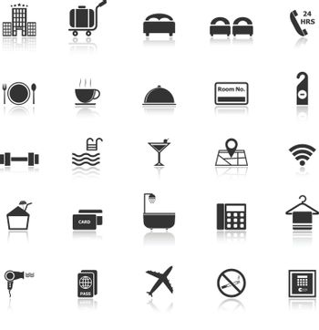 Hotel icons with reflect on white background, stock vector