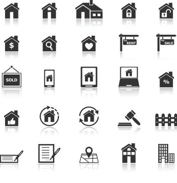 Real estate icons with reflect on white background, stock vector