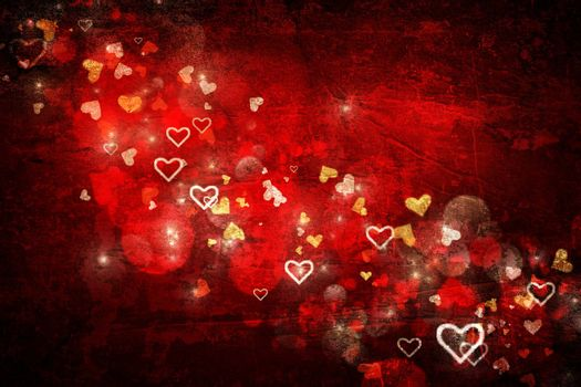 Red valentines day background with hearts
